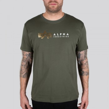 Alpha Label T Foil Print - dark olive