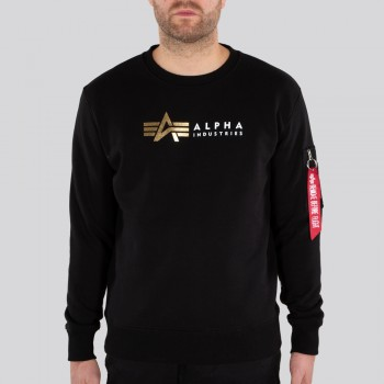 Alpha Label Sweater Foil Print - fekete