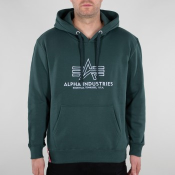 Basic Hoody Embroidery - navy green