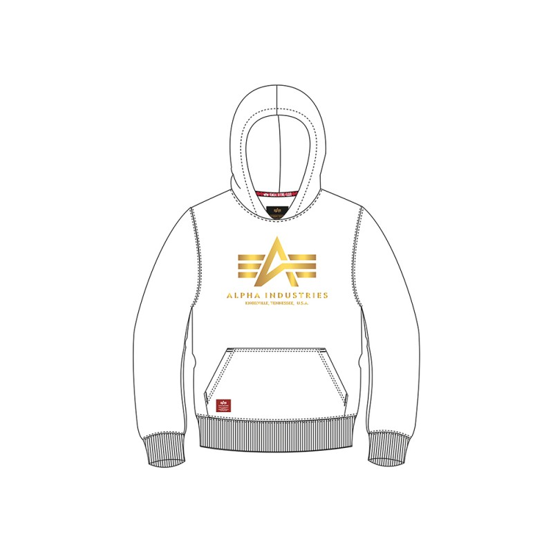 Basic Hoody Foil Print Kids - white/yellow gold