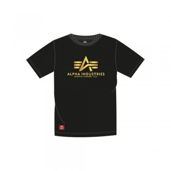 Basic T Kids Foil Print - black/yellow gold