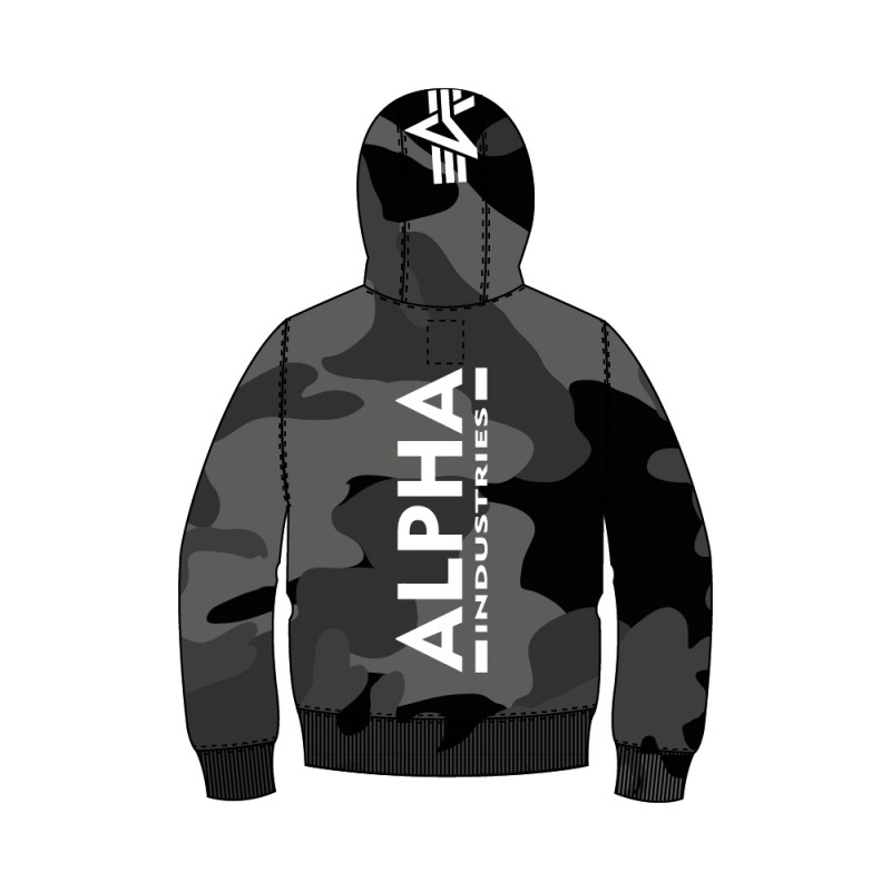 Back Print Hoody Camo Kids - black camo
