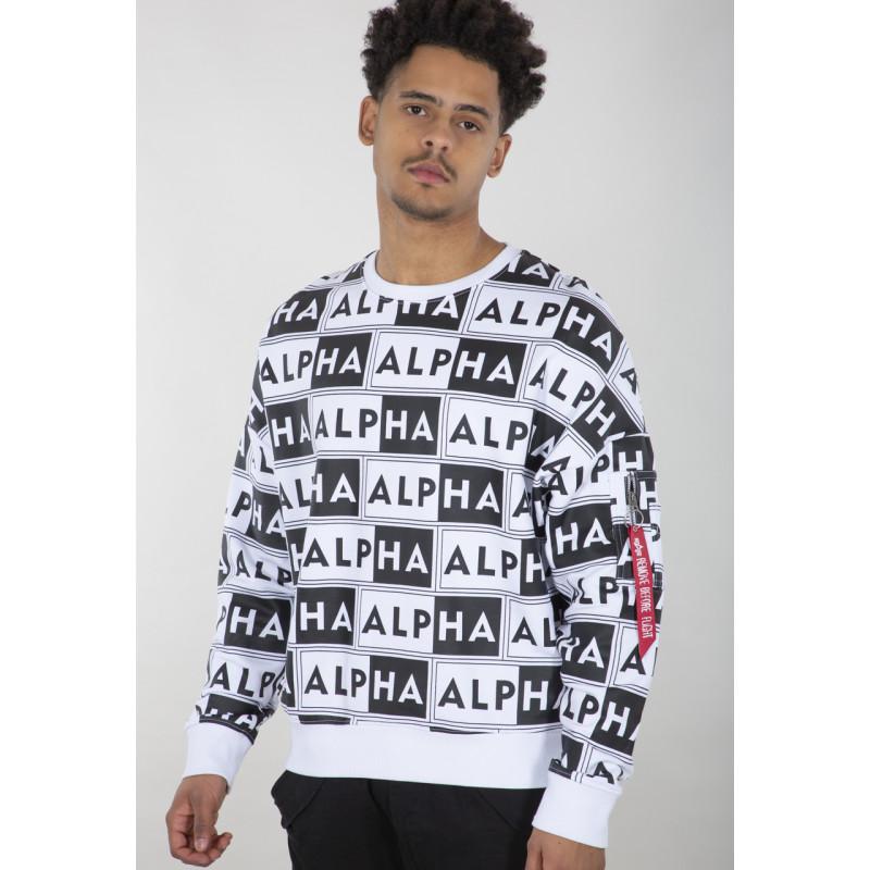 AOP OS Sweater - white/black