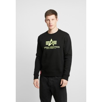 Basic Sweater Neon Print - black/neon yellow