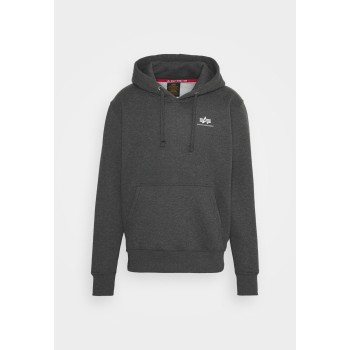 Basic Hoody Small Logo - charcoal heather/white