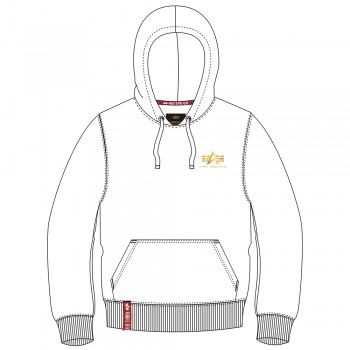 Basic Hoody Small Logo Foil Print - white/yellow gold