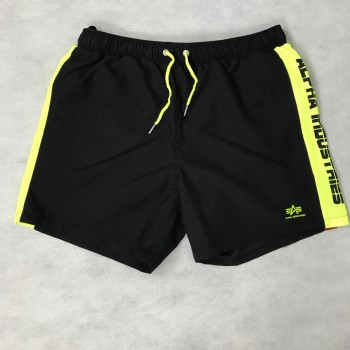 Printed Stripe Swim Short - black