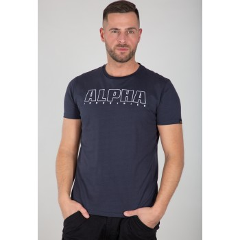 Alpha Embroidery Heavy T - replica blue