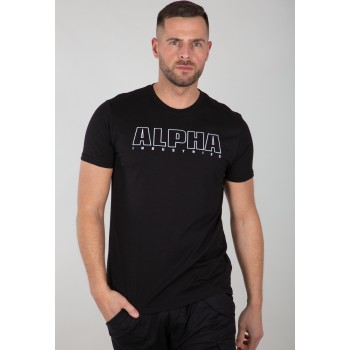 Alpha Embroidery Heavy T - black/white