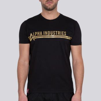 Alpha Industries T Foil Print - black/yellow gold