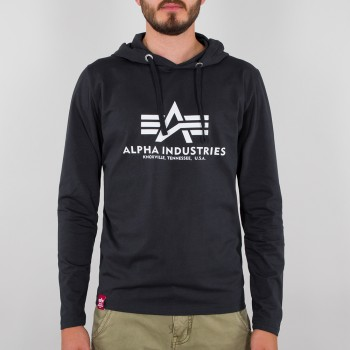 Basic Hooded Heavy LS - black