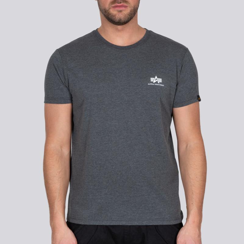 Basic T Small Logo - charcoal heather/white