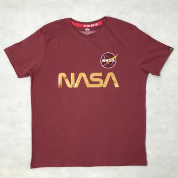 NASA Reflective T - burgundy/shiny gold