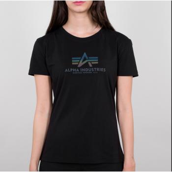 New Basic T Woman Rainbow Reflective Print - black