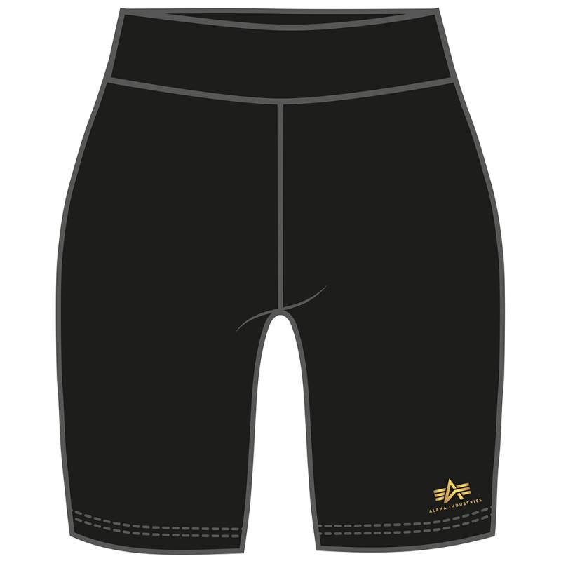 Basic Bike Shorts SL Foil Print Woman - black/yellow gold