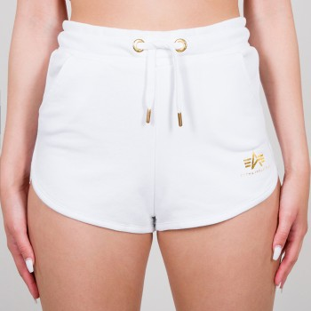 Basic Short SL Foil Print Woman - white/yellow gold