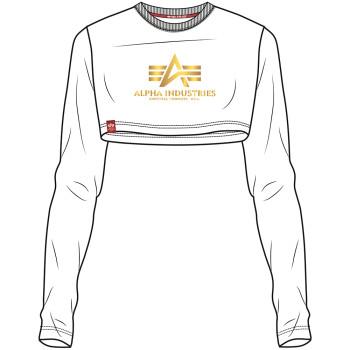 Basic Cropped LS Foil Print Woman - white/yellow gold