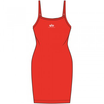 Basic Dress Small Logo Woman - atomic red