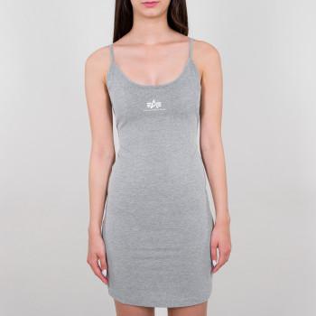 Basic Dress Small Logo Woman - greyheather/white