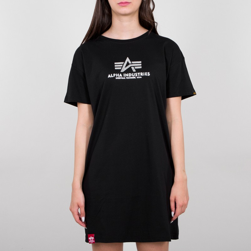Basic T Long Foil Print Woman - black/metalsilver
