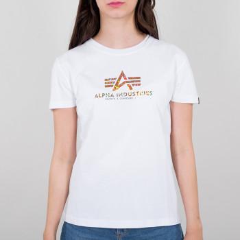 New Basic T Hologram Print Woman - white/gold crystal
