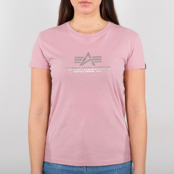 New Basic T Woman Foil Print - silver pink/metalsilver