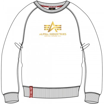 New Basic Sweater Woman Foil Print - white/metal gold