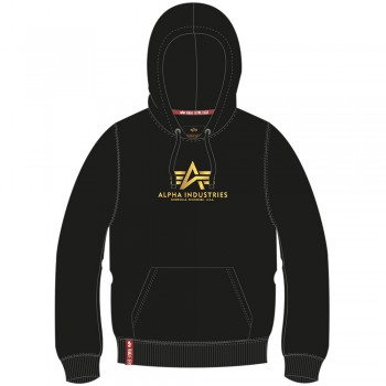 New Basic Hoody Woman Foil Print - black/yellow gold
