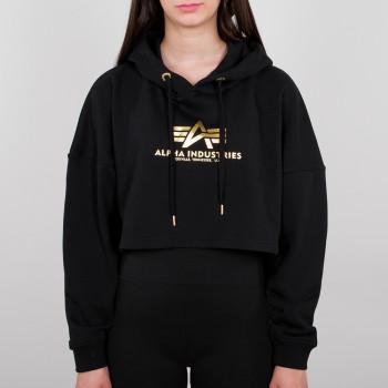 Basic Hoody COS Foil Print Woman - black/yellow gold
