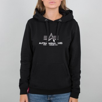 New Basic Hoody Woman Foil Print - black/metalsilver
