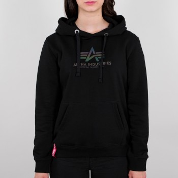 New Basic Hoody Rainbow Reflective Print Woman - black