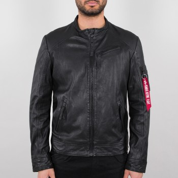 Alpha Biker Jacket Leather - black