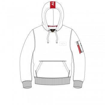 Red Stripe Hoody - white/red
