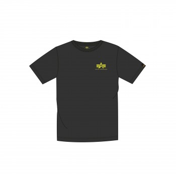 Basic T Small Logo Neon Print - black/neon yellow
