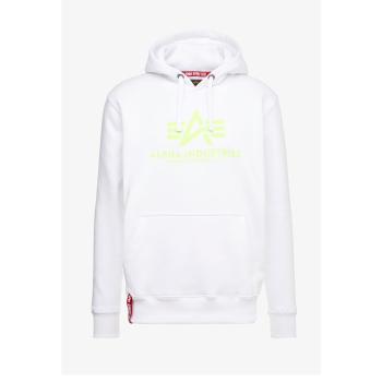 Basic Hoody - white/neon yellow