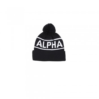 Block Bobble Beanie - black