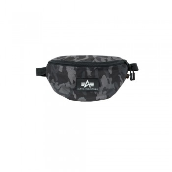 Rubber Print Waist Bag - black camo