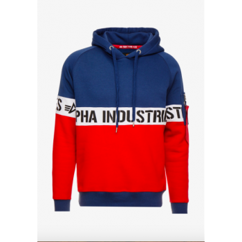 AI Stripe Hoody - new navy/red