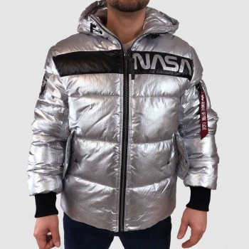 Metallic Puffer NASA - silver
