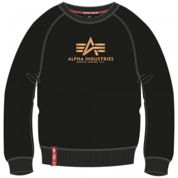 New Basic Sweater Woman Foil Print - black/metal gold