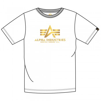 Basic T Foil Print - white/yellow gold