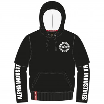 Sleeve Print Hoody - black