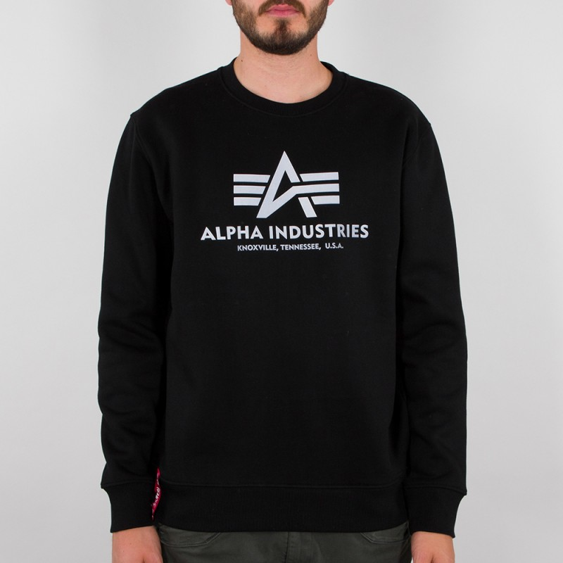 Basic Sweater Reflective Print - black