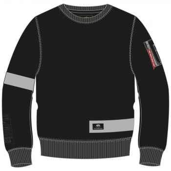 Reflective Stripes Sweater - black