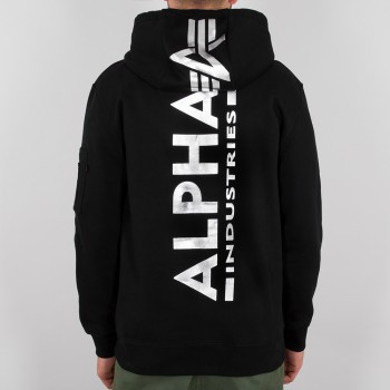 Back Print Hoody Foil Print - black/chrome