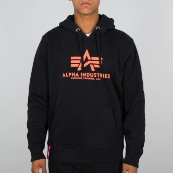 Basic Hoody - black/neon orange