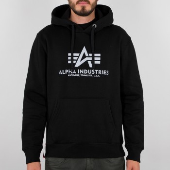 Basic Hoody Reflective Print - black