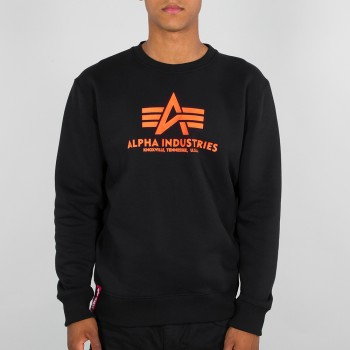 Basic Sweater Neon Print - black/neon orange