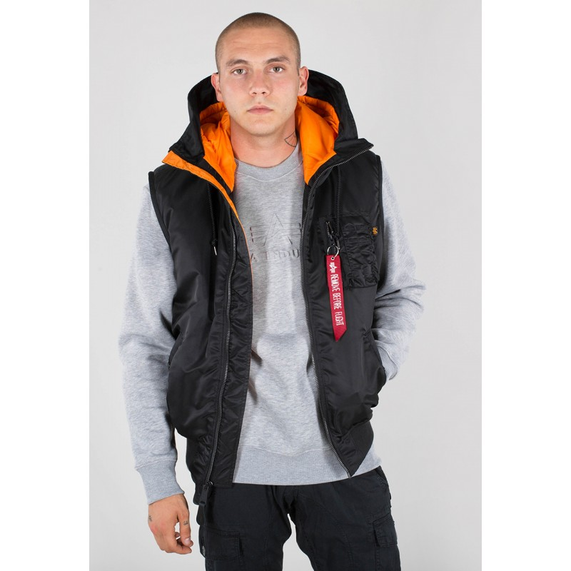 Hooded MA-1 Vest - black