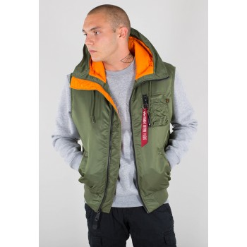 Hooded MA-1 Vest - sage green